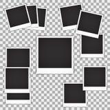 Set of blank vintage photo frame mockup isolated on a transparent background. Photorealistic  EPS10 retro  Stock Image