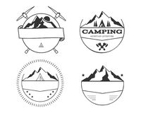 Set of blank vintage summer camp badges and outdoor logo templates, emblems and labels. Royalty Free Stock Photos