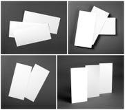 Set of Blank white flyers over gray background. Identity design. Stock Image