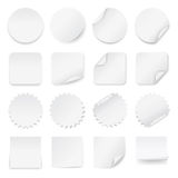 Set of blank white labels with rounded corners in different shapes. Royalty Free Stock Images