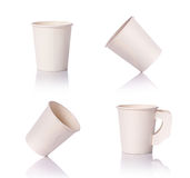 Set blank white paper cup for coffee or hot drink. Studio shot i. Solated on white background Royalty Free Stock Image