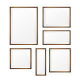 Set of Blank wood photo frame on white background vector eps10 Stock Photography