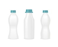 Set of blank yogurt white bottles . Vector Stock Image
