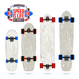 Set of blanks  variety form longboards Royalty Free Stock Photos