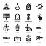 Set of Blaster, Smartwatch, Hoverboard, Eolic energy, Robot, Augmented reality, Solar panel, Smart home, Hologram icons. Set Of 16 simple  icons such as Blaster Royalty Free Stock Images