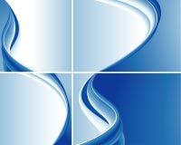 Set blaue abstrakte Wellen-Hintergründe Stockfotografie