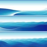 Set blaue abstrakte Wellen-Hintergründe Stockfoto