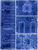 Set blaue Leiterplatten Stockbilder