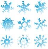 Set blaue schmelzende Schneeflocken Lizenzfreie Stockfotografie