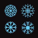 Set blaue Schneeflocken Stockfotografie