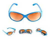 Set blaue Sonnenbrillen Stockfoto