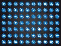 Set blaue Universalweb-Ikonen Stockbild