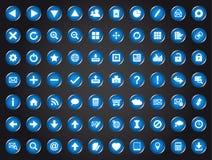 Set blaue Universalweb-Ikonen Stockfotografie