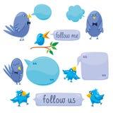 Set blaue Vögel mit Klecksen Lizenzfreies Stockbild