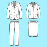 Set of a blazer, pants and skirt. Blank Mens and Womens clothing set in white colors. Blank template of classic blazers, pants and skirt in front view. Casual Stock Image
