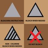 Set of bleaching instruction symbols to be use on laundry Royalty Free Stock Photos