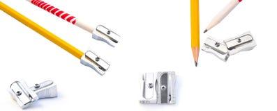 Set Bleistifte und Bleistiftspitzer Stockfoto