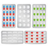 Blister pills. Set of blister pills and tablets on white background. EPS file available royalty free illustration