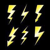 Set Blitz auf Schwarzem Stockfotografie