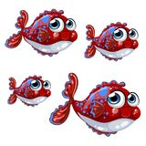 Set bloated cartoon red fish with blue spots isolated on a white background. Vector illustration. Set bloated cartoon red fish with blue spots isolated on a Stock Photography