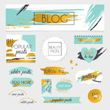 A set of blog design elements kit. Frames, dividers, decorative Stock Images