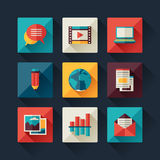 Set of blog icons in flat design style.  Royalty Free Stock Photography