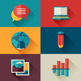 Set of blog icons in flat design style.  Stock Photography