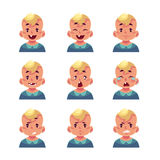 Set of blond baby boy avatars with different emotions. Little boy face expression, set of cartoon vector illustrations isolated on white background. Blond male Stock Photography
