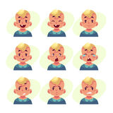 Set of blond baby boy avatars with different emotions. Little boy face expression, set of cartoon vector illustrations isolated on yellow background. Blond male Royalty Free Stock Photography