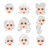Set of  blond hair styling Royalty Free Stock Photos