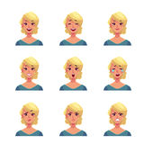 Set of blond woman face expression avatars Stock Photos