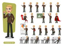 Set of blonde businessman in brown suit cartoon character design. With different poses, isolated against white background Royalty Free Stock Photos