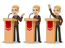 Set of blonde businessman in brown suit giving a speech behind rostrum. Set of blonde businessman in brown suit cartoon character design politician orator public Stock Image