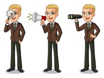 Set of blonde businessman in brown suit looking for poses Royalty Free Stock Image