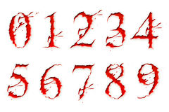 Set of Blood Liquid numbers Stock Photography