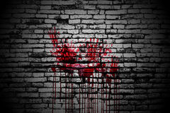 Set 8. bloody handprint on brick wall Stock Photos