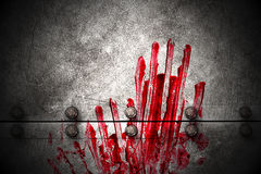 Set 8. bloody handprint on metal wall Royalty Free Stock Photos