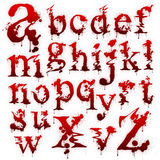 Set of Bloody letters isolated. On a white background Royalty Free Stock Photos