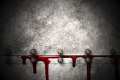 Set 8. bloody metal wall  in the dark Stock Photos