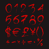 Set of Bloody numbers. Royalty Free Stock Image