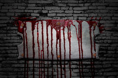 Set 8. bloody signboard on brick wall. In the dark for horror content and halloween festival. 3d illustration Royalty Free Stock Image