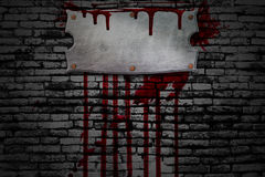 Set 8. bloody signboard on brick wall Stock Image