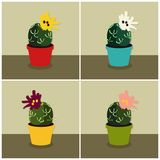 Blooming cacti set. Set of blooming cacti - vector illustrations Stock Photo