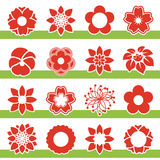 Set of blooming flowers - symbol, icon of flower Stock Photography