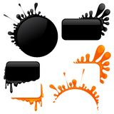 Set of blots and corners Royalty Free Stock Images