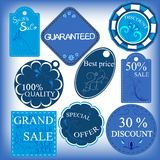 Set of blu sale labels Royalty Free Stock Photo