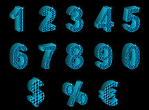 Set of blue 3D numbers, percent, euro and dollar Stock Photos