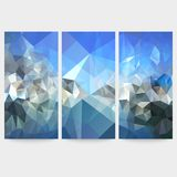Set of blue abstract backgrounds, triangle design Stock Photos