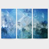Set of blue abstract backgrounds, triangle design Royalty Free Stock Image