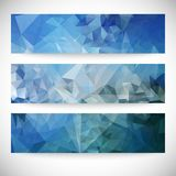 Set of blue abstract backgrounds, triangle design. Vector illustration Royalty Free Stock Image